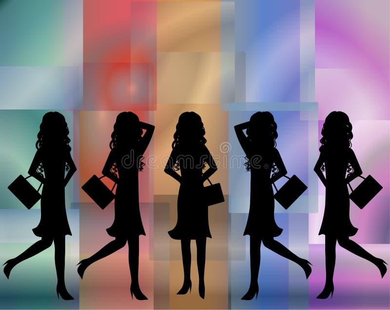 женщины стекел цвета ходя по магазинам иллюстрация вектора