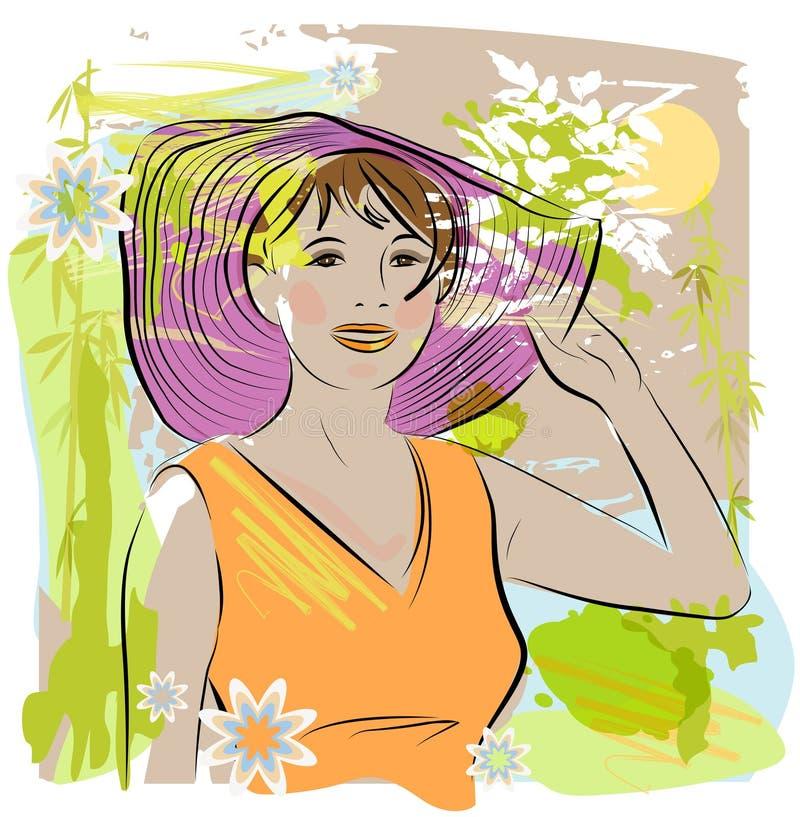 женщины сторновки шлема нося иллюстрация вектора