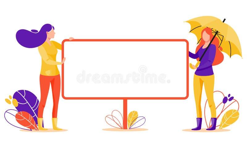 Женщины с большим плакатом стоковое изображение rf