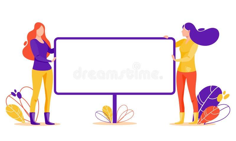 Женщины с большим плакатом стоковые фото