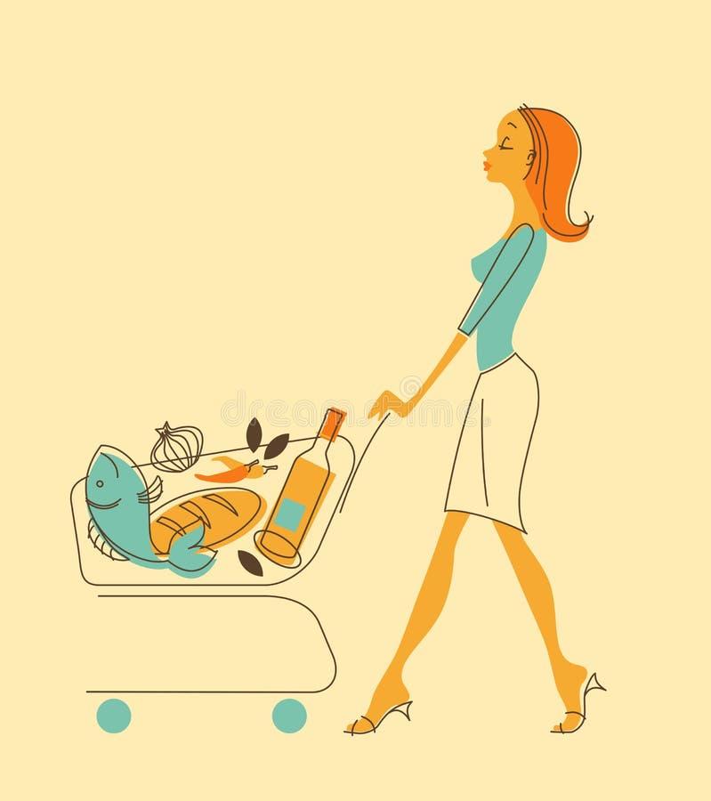 Женщины с магазинной тележкаой иллюстрация вектора