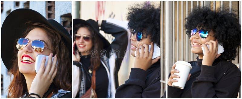 Женщины с мобильными телефонами стоковая фотография rf