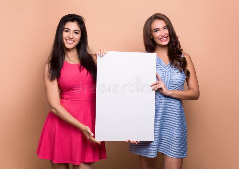 2 женщины с пустым пустым знаменем на предпосылке персика стоковое изображение rf