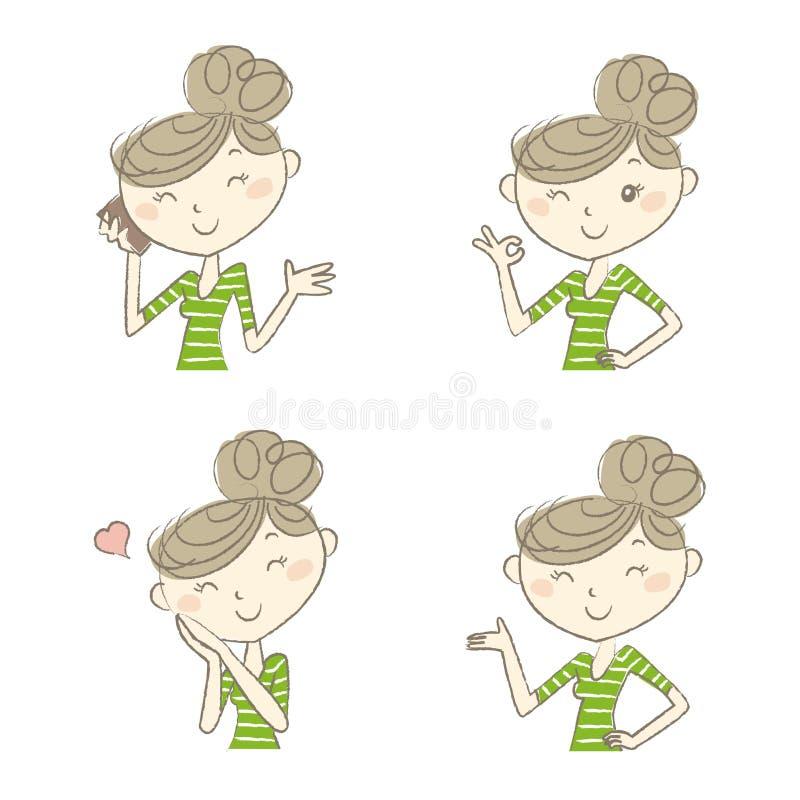 Женщины с различными выражением и представлениями иллюстрация вектора