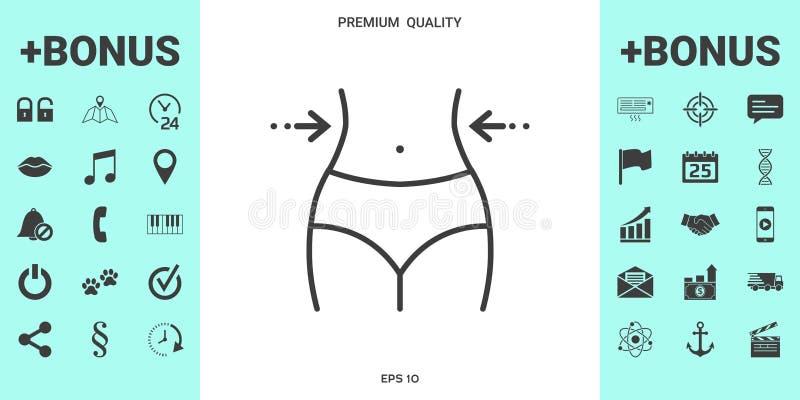 Женщины талия, потеря веса, диета, талия - выровняйте значок иллюстрация штока