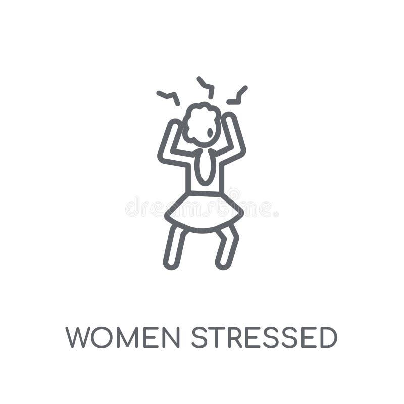 Женщины усилили линейный значок Современными логотип усиленный женщинами c плана иллюстрация штока