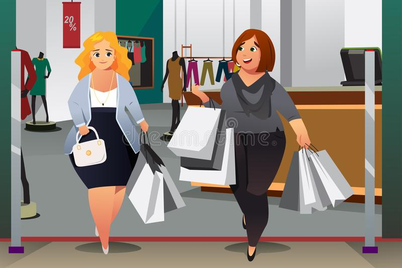 Женщины ходя по магазинам в иллюстрации мола иллюстрация штока