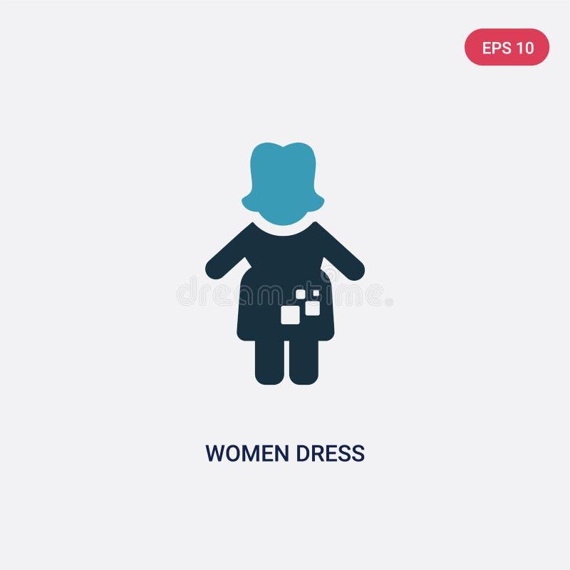 2 женщины цвета одевают значок вектора от концепции людей изолированные голубые женщины одевают символ знака вектора могут быть п иллюстрация штока