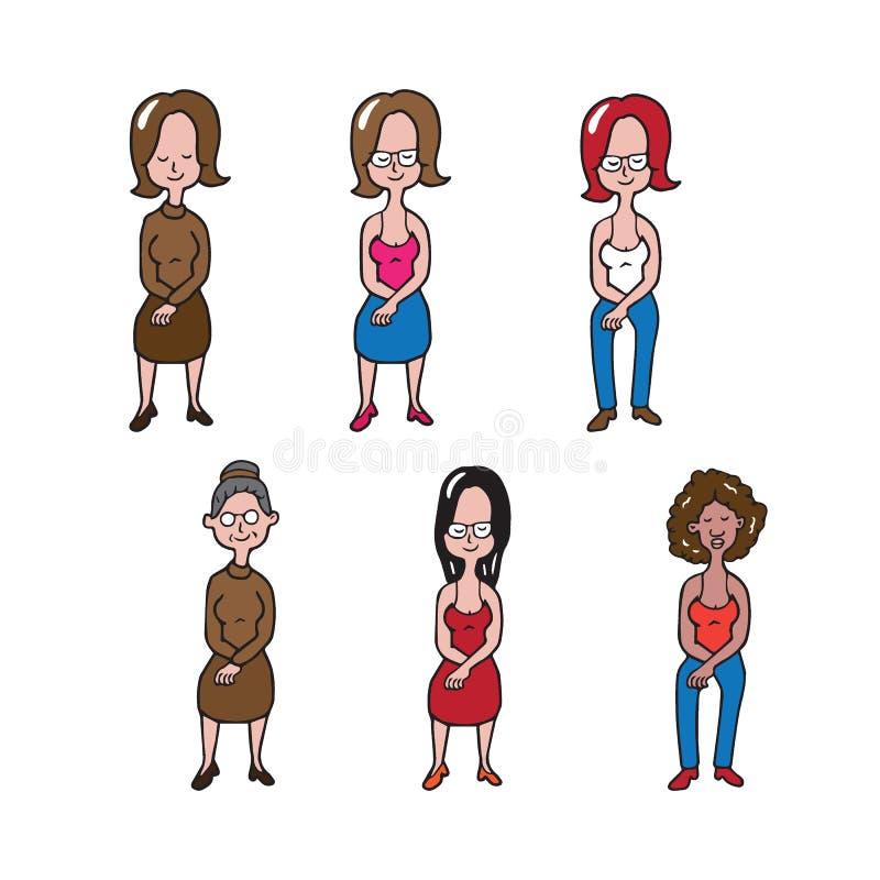 Женщины людей сидя шарж бесплатная иллюстрация
