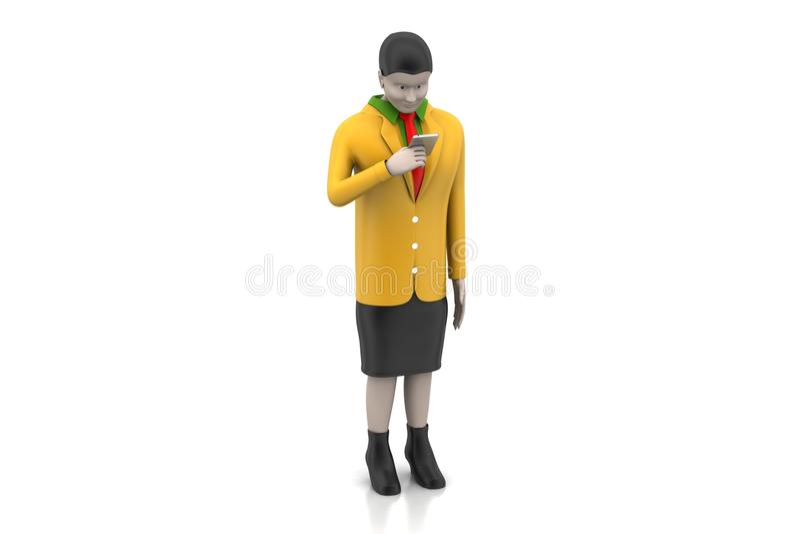 женщины 3d смотря умный телефон иллюстрация вектора