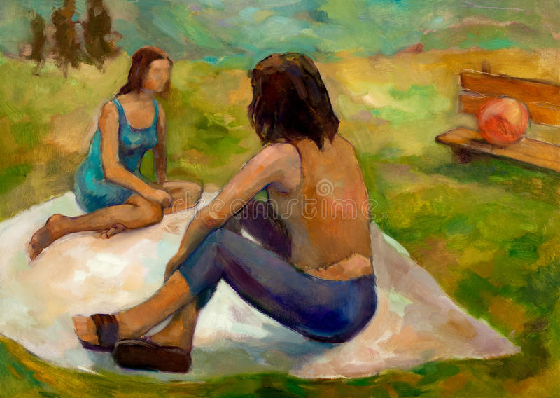 Женщины outdoors иллюстрация вектора