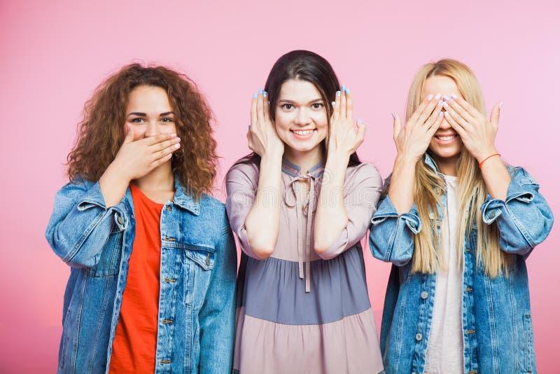 3 женщины youg как 3 мудрых обезьяны Сурдинка, шторка глухая стоковая фотография rf