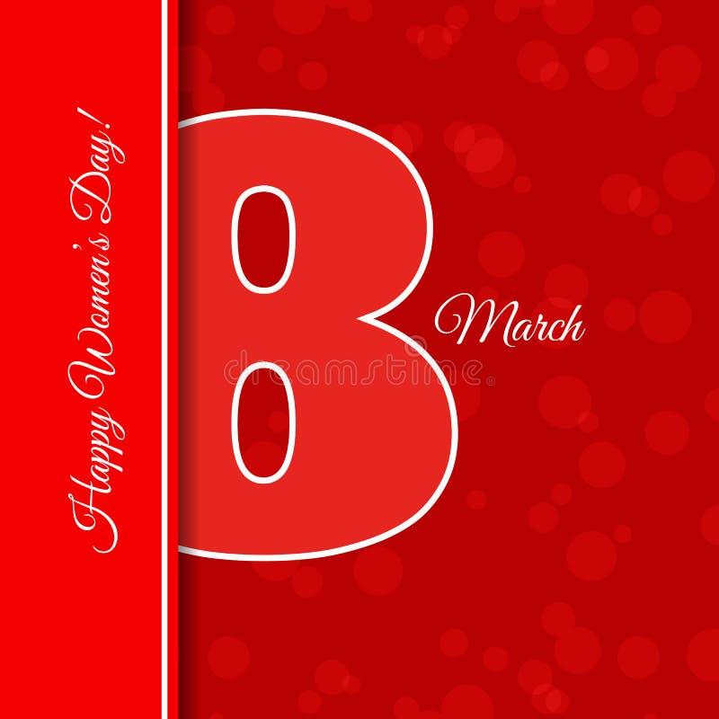 ` Женщин абстрактного красного шаблона поздравительной открытки 8-ое марта международное стоковое фото rf