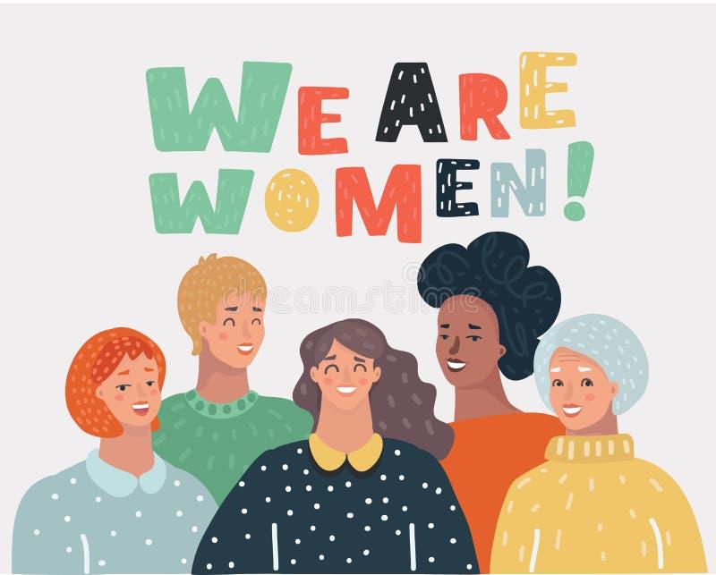 5 женщин друзья или феминист активисты иллюстрация вектора