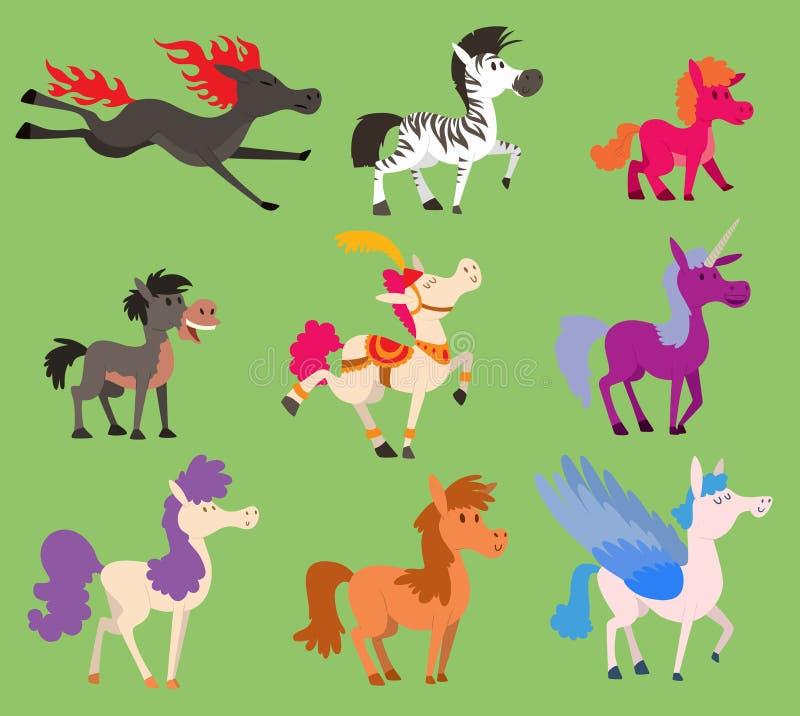 Жеребец пони лошади вектора цвета фантазии малый разводит характер зоопарка гривы домашнего животного фермы конноспортивный млеко бесплатная иллюстрация