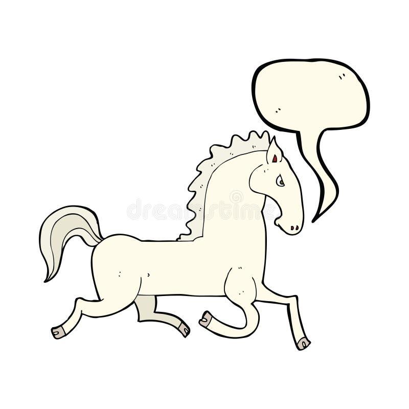 жеребец шаржа бежать белый с пузырем речи бесплатная иллюстрация