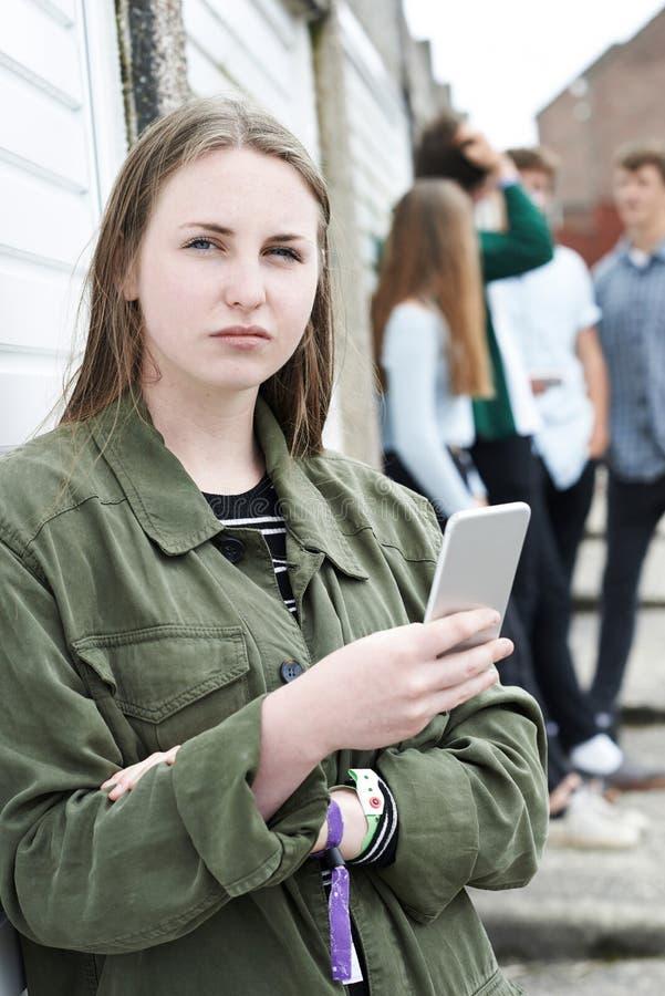 Жертва девочка-подростка задирать обменом текстовыми сообщениями стоковые фото