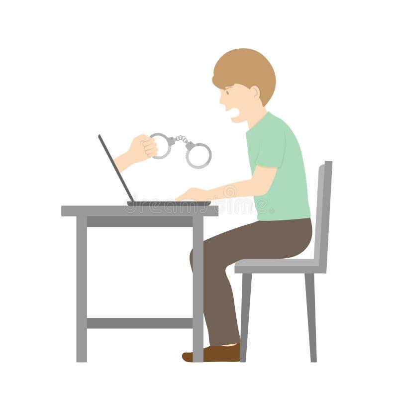 Жертва иллюстрации наручника удерживания человека идеи концепции преступления кибер интернета, ноутбука и руки изолированной на б иллюстрация вектора