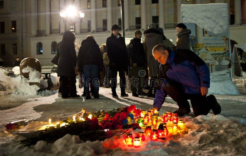 Жертвы почетностей Киева конфликта Donbas стоковые изображения rf