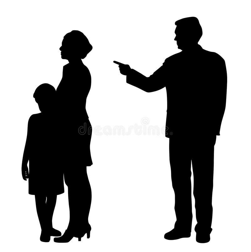 Жестокий муж-муж отец эмоционально оскорбляет женскую жену и испуганного ребенка иллюстрация вектора