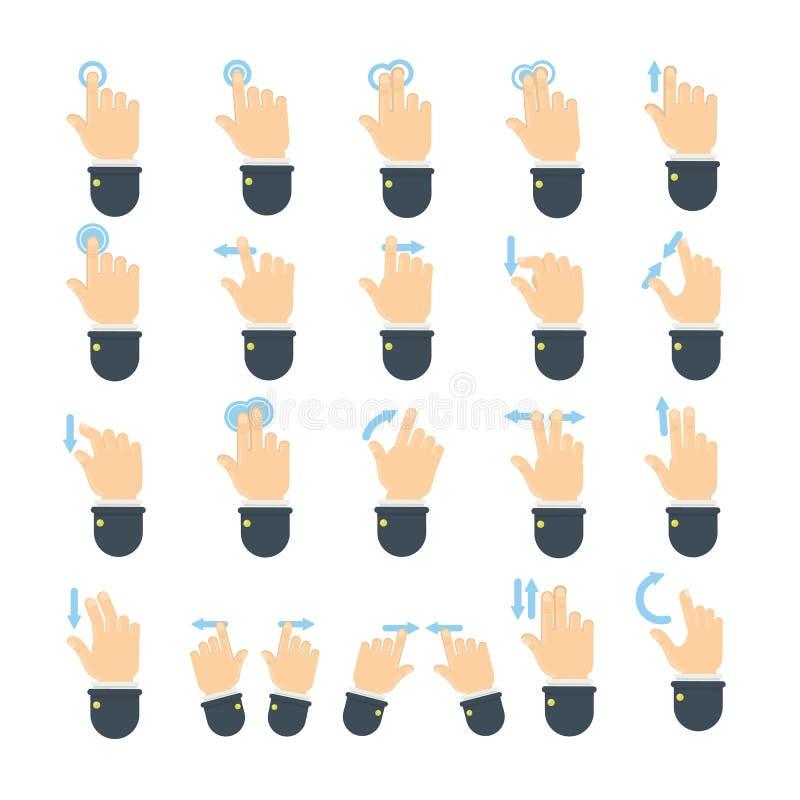 жесты вручают комплект иллюстрация вектора