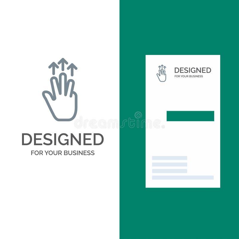 Жесты, рука, чернь, 3 палец, дизайн логотипа касания серые и шаблон визитной карточки иллюстрация вектора