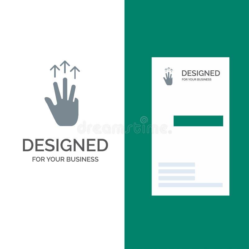 Жесты, рука, чернь, 3 палец, дизайн логотипа касания серые и шаблон визитной карточки иллюстрация штока