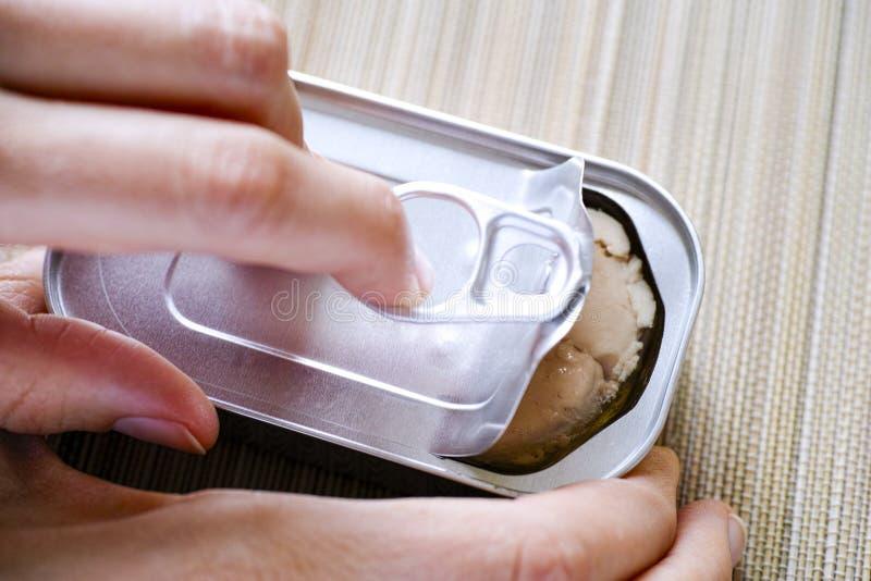 Жестяная коробка отверстия руки персоны с печенью трески стоковая фотография