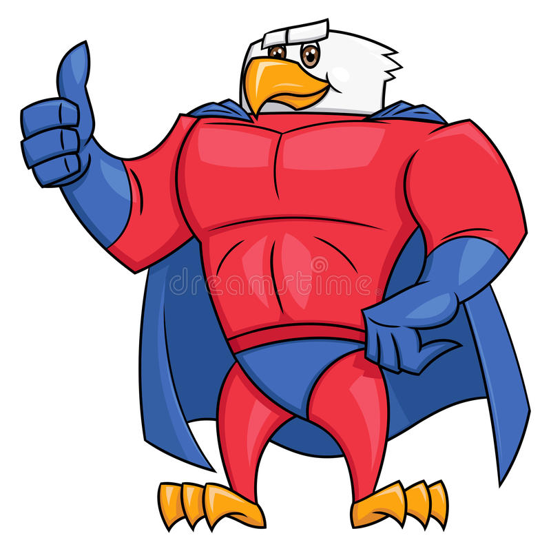 Жест 2 большого пальца руки супергероя орла поднимающий вверх иллюстрация вектора