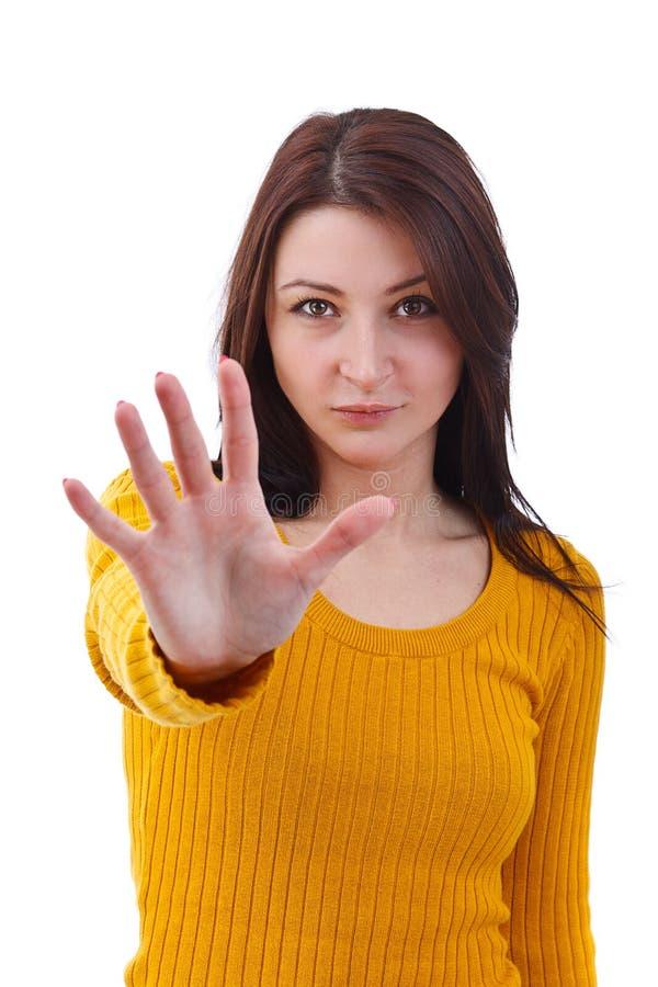 жест делая женщину стопа стоковые изображения rf
