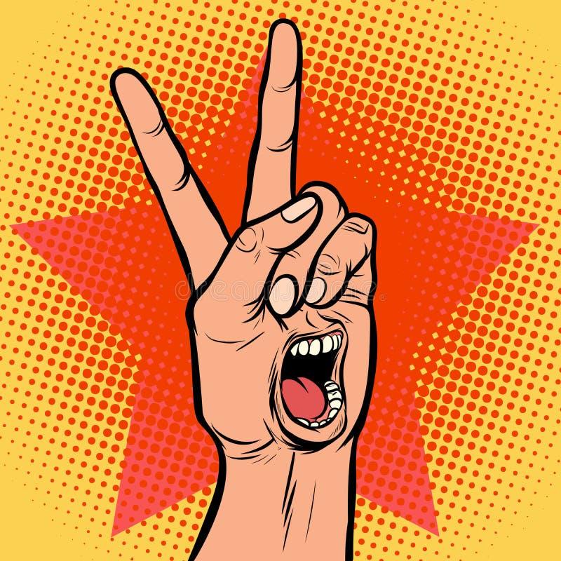 Жест победы руки эмоции рта наслаждения клекота иллюстрация вектора