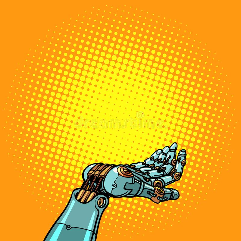 Жест представления руки робота иллюстрация вектора