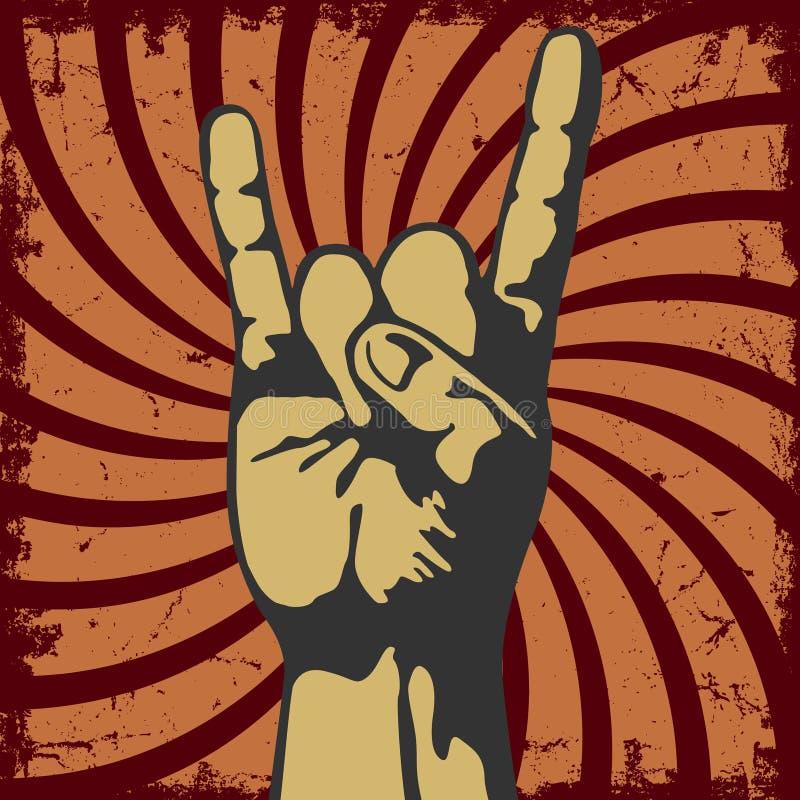 Жест руки в grunge вектора иллюстрация штока