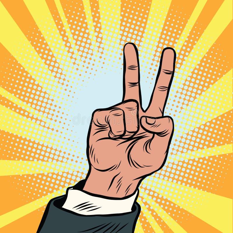 Жест рукой победы иллюстрация вектора