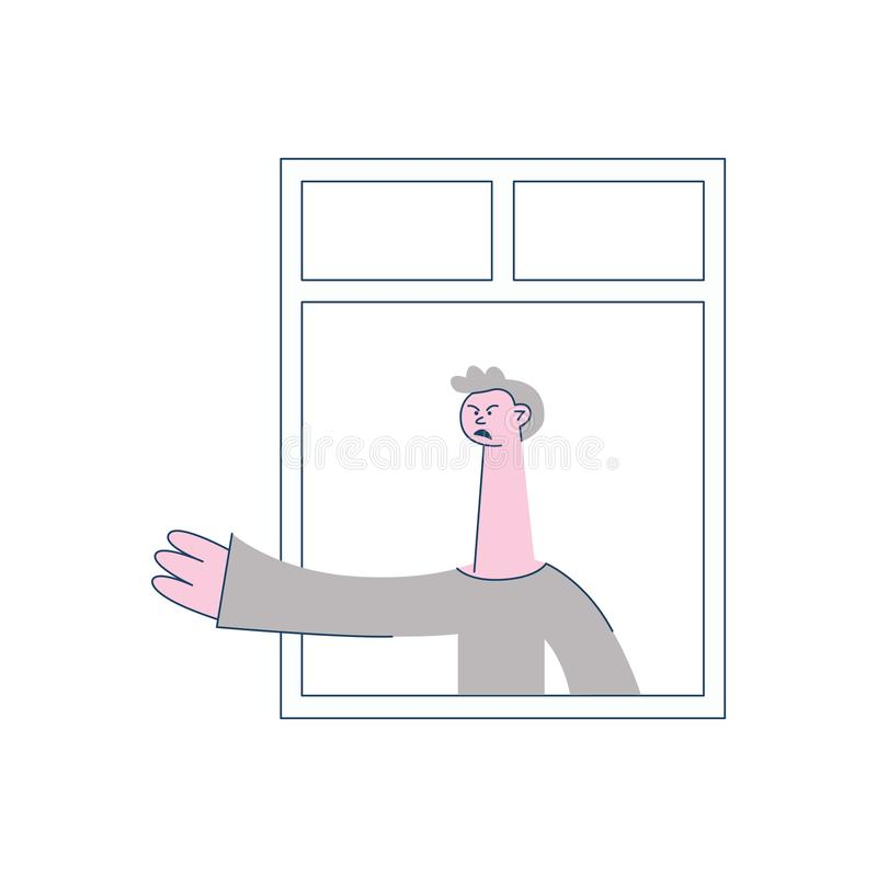 Жест сердитого человека вектора угрожая окна бесплатная иллюстрация