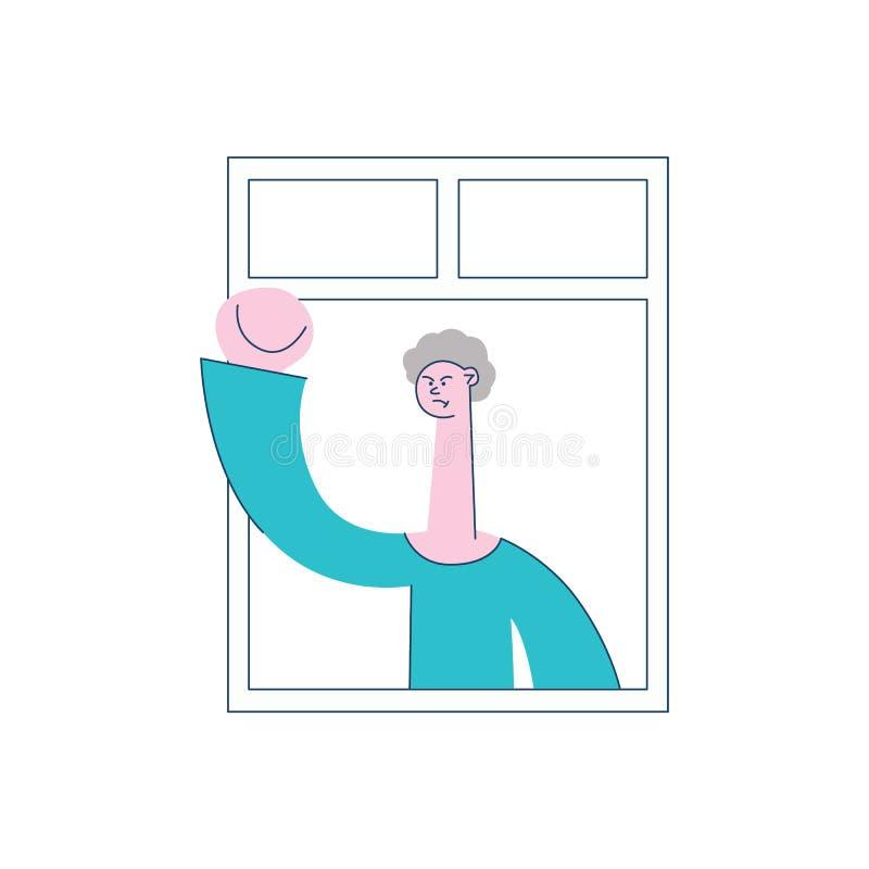 Жест сердитого человека вектора угрожая окна иллюстрация штока