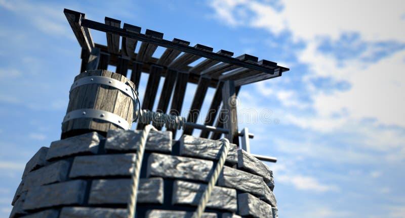 Желать хорошо с деревянным ведром стоковое изображение rf