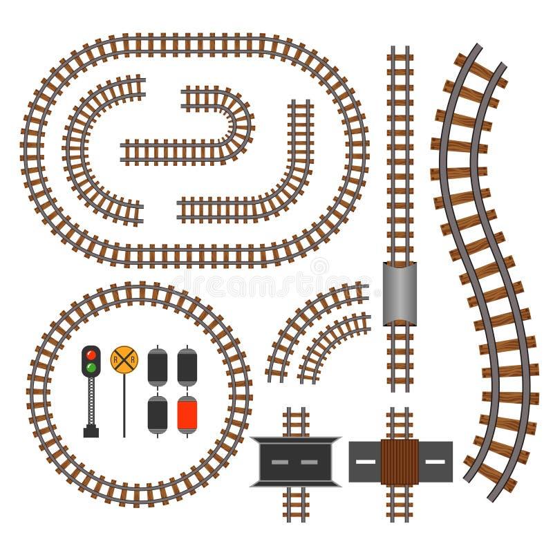 Железная дорога вектора и элементы конструкции железнодорожных путей иллюстрация вектора