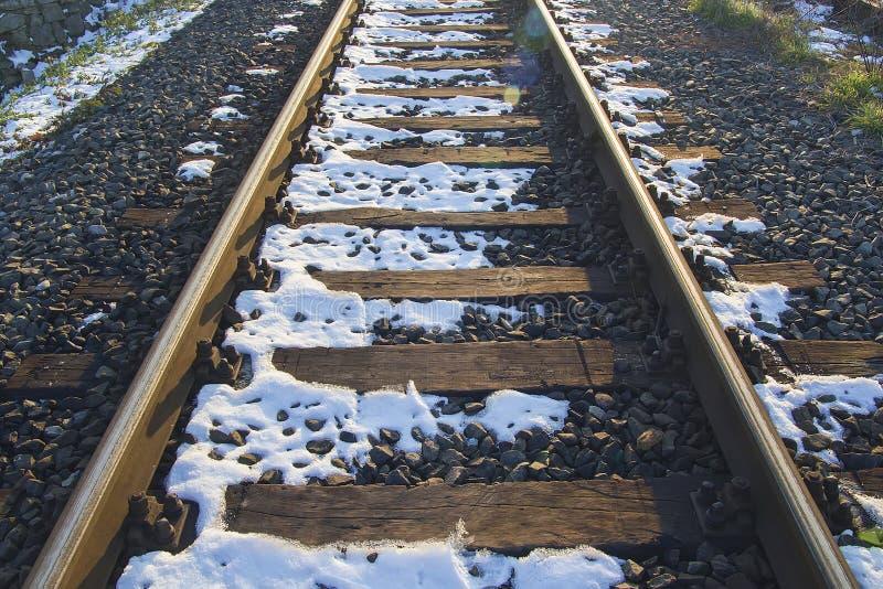 Железная дорога в январе стоковое фото rf