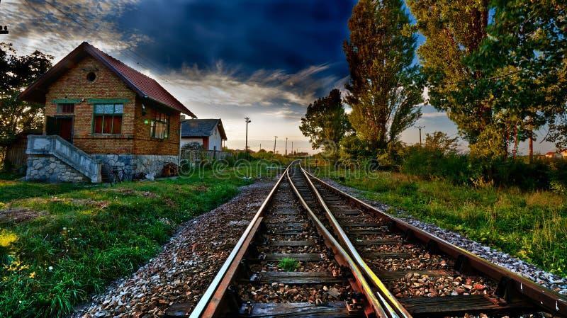 Железная дорога и станция стоковые фото