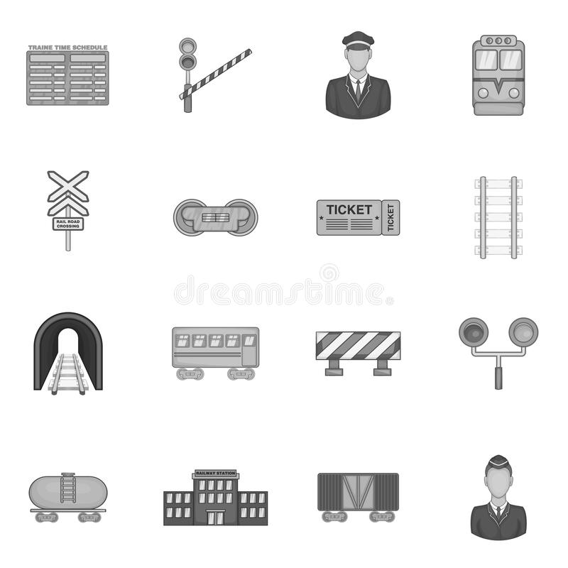 Железнодорожные установленные значки, черный monochrome стиль иллюстрация штока