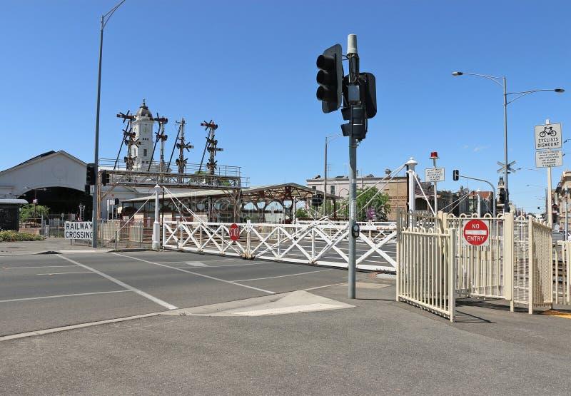 Железнодорожный вокзал Ballarat, раскрытый 11-ого апреля 1862, имеет стробы качания самый большой выдерживать блокируя в Виктории стоковые изображения rf