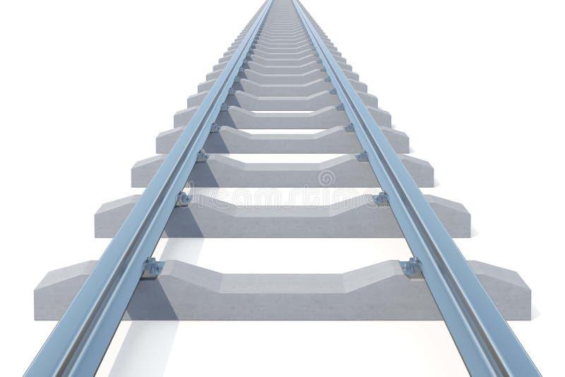 Железнодорожный идти в расстояние изолированное на белой предпосылке нигде дорога к иллюстрация 3d иллюстрация вектора