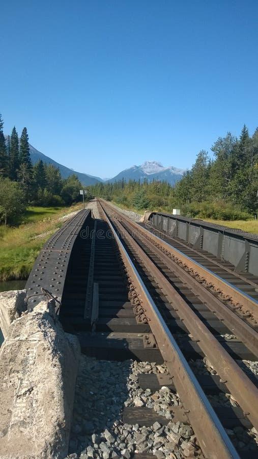 Железнодорожный мост и рельсы, скалистые горы стоковые фото