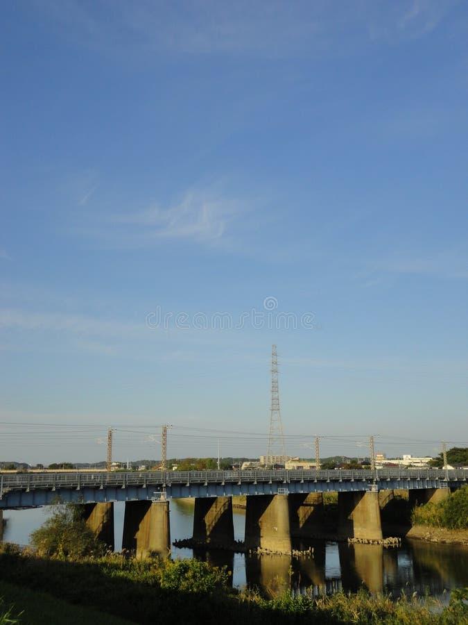 Железнодорожный мост над рекой Kokai стоковое изображение