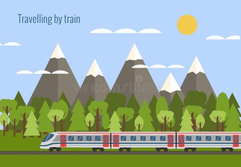 железнодорожный поезд иллюстрация вектора