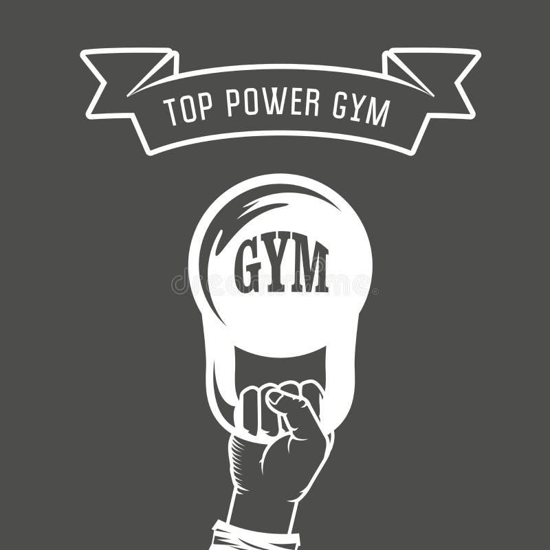Железный вес в руке - плакате спортзала иллюстрация штока