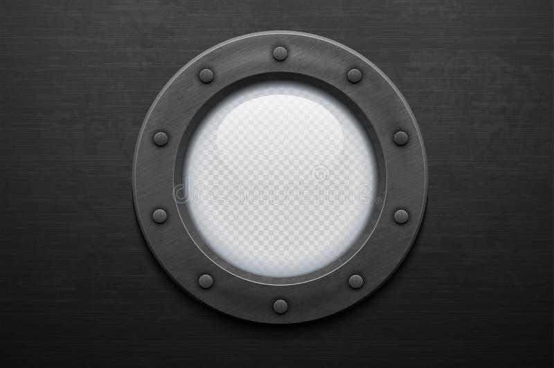 Железный иллюминатор с стеклом на почищенной щеткой предпосылке металла (прозрачность в дополнительном формате только) иллюстрация вектора