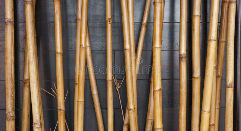 Желтая бамбуковая предпосылка загородки на черной древесине стоковые фотографии rf