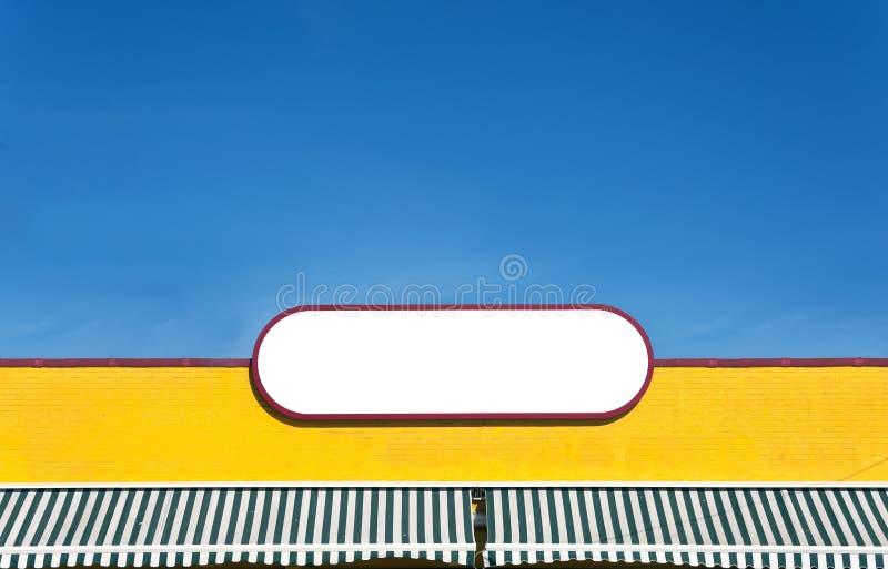Желтая белая плита логотипа, пустая для космоса экземпляра, рекламы стоковые изображения